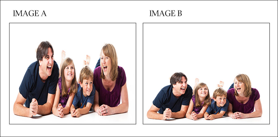 Two variants of a family image inappropriately forced into a square format.