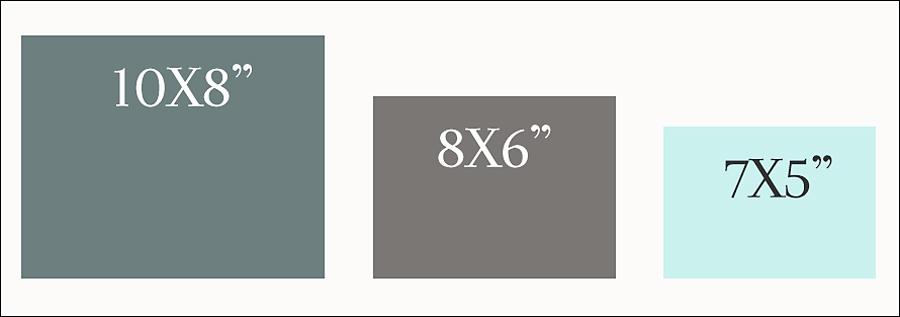 Graphic explaining different print sizes.